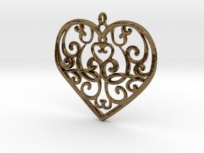 Filigree Antique Heart pendant in Polished Bronze