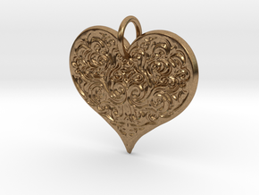 Filigree Engraved Heart pendant in Natural Brass