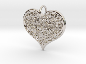 Filigree Engraved Heart pendant in Rhodium Plated Brass