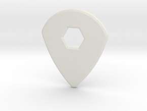Guitar Pick (jazz design) in White Natural Versatile Plastic