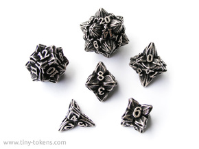 Floral Dice - Gaming Set (6 dice) in Polished Bronzed Silver Steel
