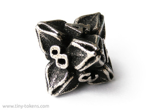 Floral Dice – D8 Gaming die in Polished Bronzed Silver Steel