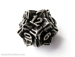 Floral Dice – D12 Gaming die in Polished Bronzed Silver Steel