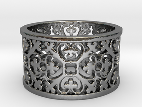 QUADRIFOGLIA 6 Ring Design Ring Size 8.5 in Fine Detail Polished Silver: 8.5 / 58