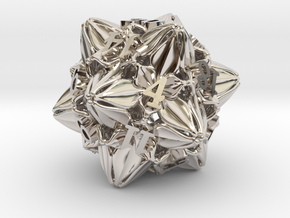 Floral Dice – D20 Gaming die in Rhodium Plated Brass