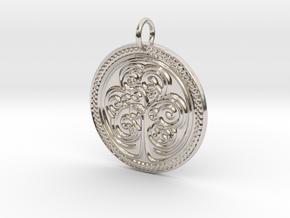Celtic Shamrock Medalion in Rhodium Plated Brass