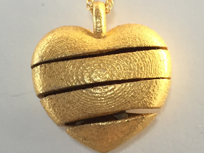 Heart & Star Pendant Small - Spiral in Polished Gold Steel