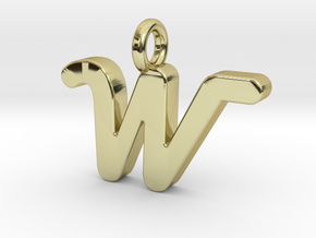 W - Pendant 2mm thk. in 18k Gold Plated Brass