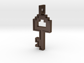 8-bit Key Pendant in Polished Bronze Steel