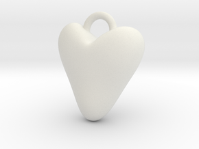 Heart Charm in White Natural Versatile Plastic