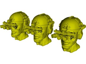 1/16 scale SOCOM operator B helmet & heads x 3 in Smooth Fine Detail Plastic