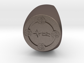 Custom Signet Ring 68 in Polished Bronzed Silver Steel