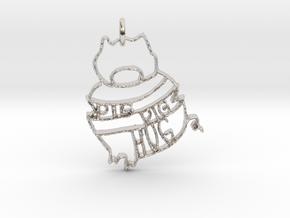 Pig Pig Hug in Rhodium Plated Brass