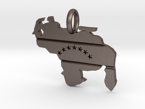 Venezuela Map - Pendant in Polished Bronzed-Silver Steel: Small