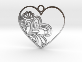 Heart Flower Pendant in Raw Silver