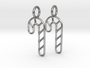 Candy cane earrings in Natural Silver