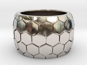 Hexagon patterned ring  in Rhodium Plated Brass