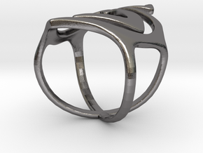 Swirl ring size 7 in Polished Nickel Steel