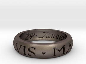 Sir Francis Drake Ring - Uncharted 3 Version in Polished Bronzed Silver Steel