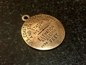 Mt Houghton Reference Mark Keychain in Natural Bronze
