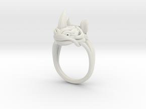 Rhinoceros Ring  in White Natural Versatile Plastic: 9 / 59