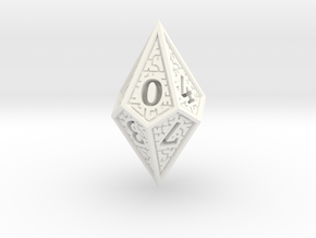 Hedron D10 (Solid), balanced gaming die in White Processed Versatile Plastic