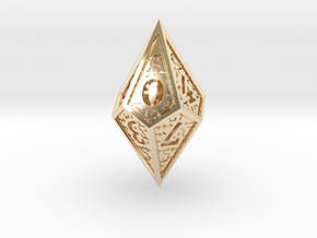 Hedron D10: Closed (Hollow), balanced gaming die in 14k Gold Plated Brass
