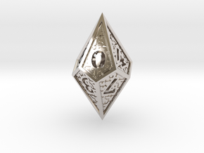 Hedron D10: Closed (Hollow), balanced gaming die in Rhodium Plated Brass