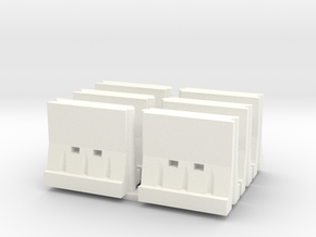 Interlocking Barricade Hollow (6) 1-87 HO Scale in White Strong & Flexible Polished