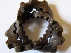 Trefoil with Cogs in Polished Bronze Steel