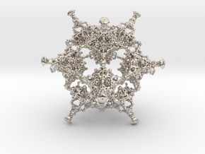 Rotated Icosahedron in Rhodium Plated Brass