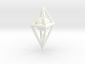 3D Skeletal Octahedron with Sphere  in White Processed Versatile Plastic