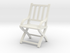 1:48 Vertical Slatted Civil War Folding Chair in White Strong & Flexible