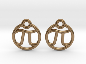 Tiny Pi Earrings in Natural Brass