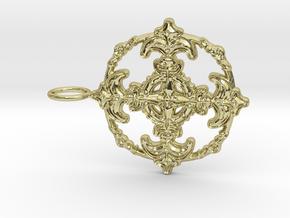 Croix Fleur de Lys baroque cercle3 in 18k Gold Plated Brass