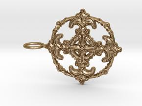 Croix Fleur de Lys baroque cercle3 in Polished Gold Steel