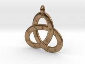 Norse/ Icelandic Rune Poem Triquetra 4.5cm in Natural Brass