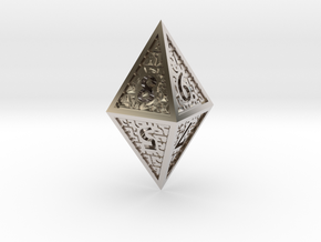 Hedron D8 Closed (Hollow), balanced gaming die in Rhodium Plated Brass