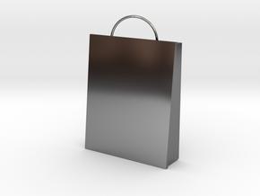 Plain Bag Charm in Fine Detail Polished Silver