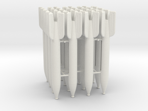 16 M-13 Rockets 1:12 scale in White Natural Versatile Plastic