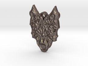 Wolfs Head in Polished Bronzed Silver Steel
