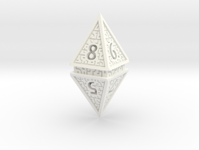 Hedron D8 (Solid), balanced gaming die in White Processed Versatile Plastic