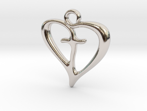 Cross My Heart Pendant in Rhodium Plated Brass
