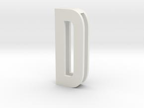 Choker Slide Letters (4cm) - Letter D in White Premium Versatile Plastic