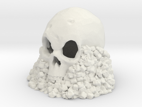 Skull on Rocks in White Strong & Flexible