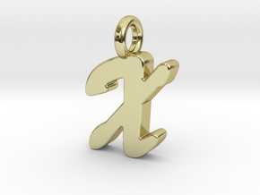 X - Pendant 2mm thk. in 18k Gold Plated Brass