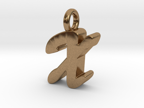 X - Pendant 3mm thk. in Natural Brass