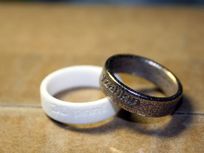 Basic Ring US 4 3/4 in Polished Bronzed Silver Steel