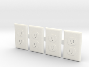 Electrical Outlet Faces; 1/6 Scale - Qty 4 in White Processed Versatile Plastic