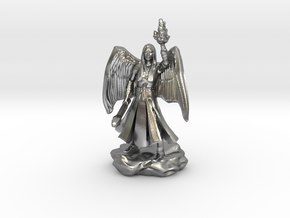 Female Aasimar Cleric With Mace in Natural Silver